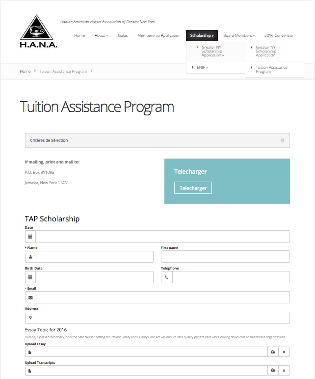 h a n a website redesign john taber previous education page